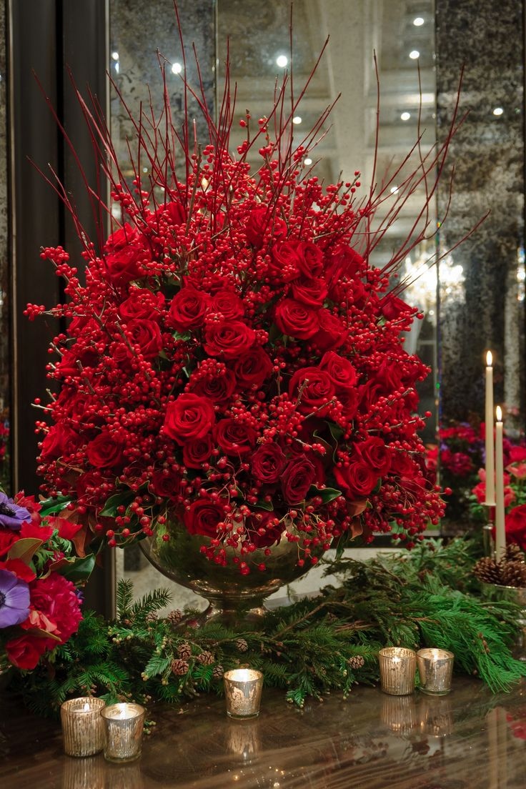 red roses and berries - gasp =what a statement!  #Christmas #Holidays  #Centerpiece ##Tablescape