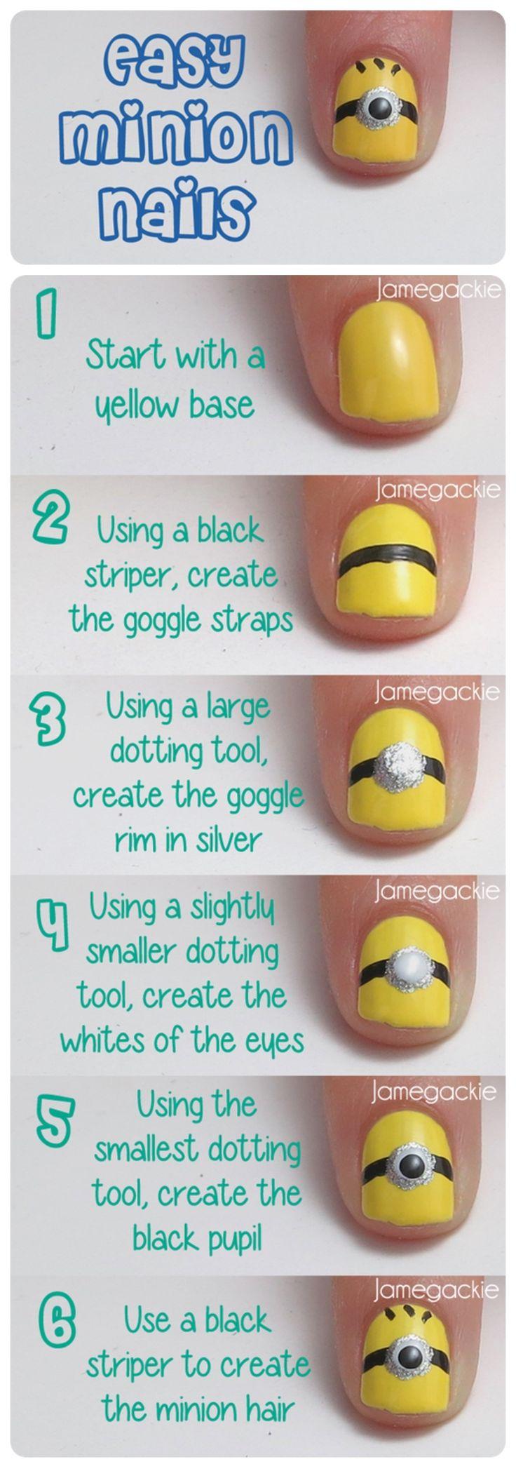 Amazingly cute and fabulous nail art designs - Diy Minion Nails Nails Diy Craft Nail Art Nail Trends Diy Nails Diy Nail Art Easy Craft Diy Fashion Minions Manicures Diy Nail Tutorial Easy Craft Ideas