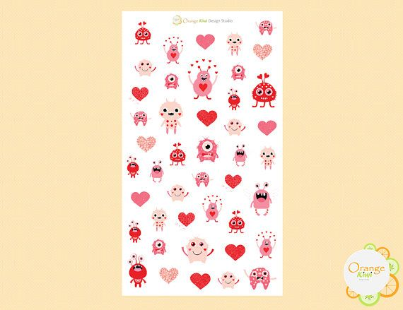 Valentine's Day Planner Stickers Monster Stickers Cute