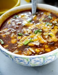 This Slow Cooker Taco Soup would be perfect to serve on Game Day. Just make a big pot of it in your slow cooker and have a topping bar with sour cream, cheese, avocado, chips, or whatever else your favorite toppings for tacos might be.