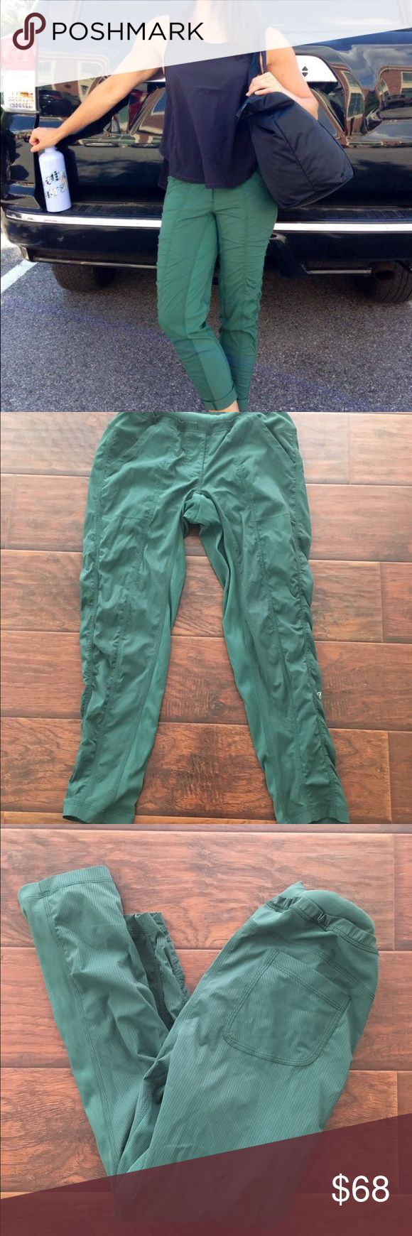 Lululemon green street to studio pants In excellent condition with no rips or stains except the drawstring is missing. I took it out bc it looks funny when it hangs out under shirts. These are made of the swift material. They are super lightweight and breathable. They are great for so many activities. Hard to find and not currently for sale online. Thanks for looking.💕 lululemon athletica Pants Straight Leg