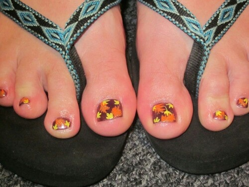 Fall toe nails (turn the yellow leaves orange and the orange ones pink so they could be your 3 fav colors) :)