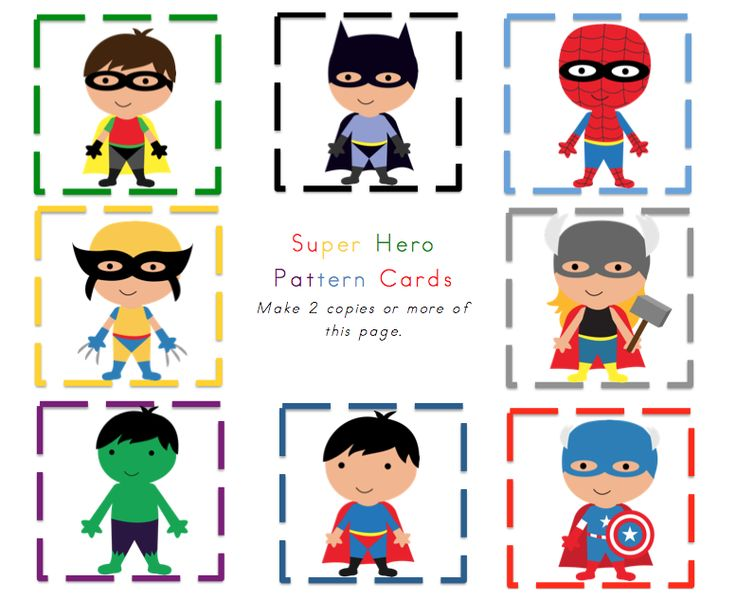 preschool printables  little superheroes pattern cards
