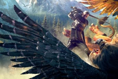 The-witcher-3-wild-hunt-geralt-and-a-griffin-wallpaper