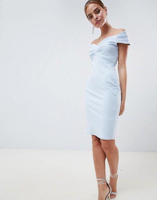9a6781f953b City Goddess Petite Bardot Pencil Midi Dress in 2019
