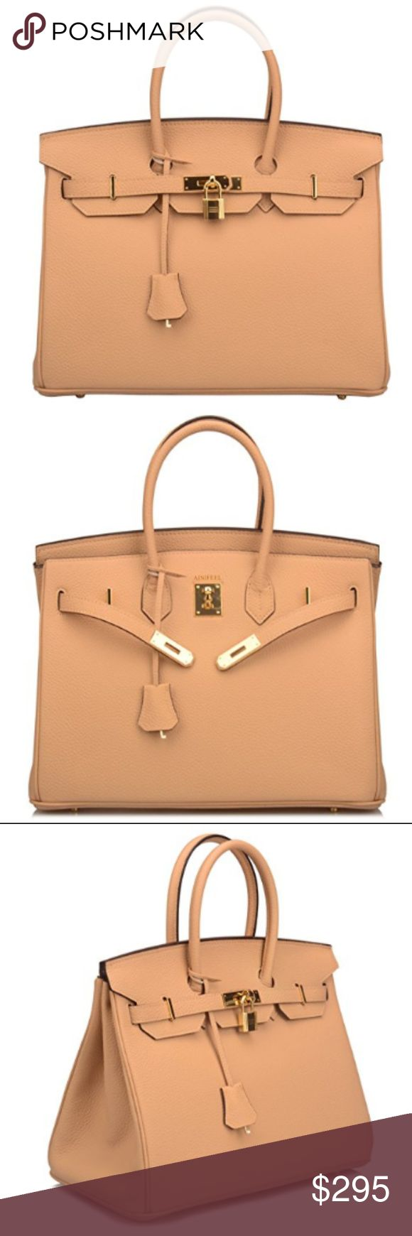 NEW Padlock Satchel Leather Handbags - Apricot PLEASE CONTACT ME UPON PURCHASE FOR SIZE AVAILABILITY! 30cm or 35cm      Cow leather     Synthetic lining. Imported.     Size 30cm: 11.8'' long, 5.5'' wide, 9'' high, 3.5'' handle     Size 35cm: 13.8'' long, 7'' wide, 10'' high, 4'' handle      We made this item with the full-grain cow leather, good quality and very durable.  SHIPPING: Please allow 2-3 Business days exclude holidays and weekend. Thanks for shopping @ my Closet. Bags Satchels
