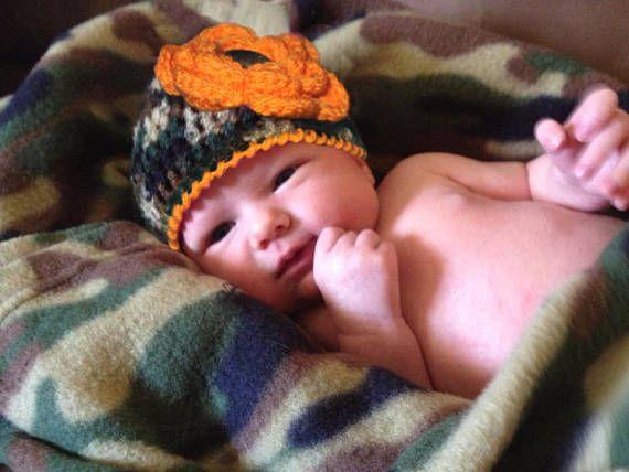 GIRLS CAMO HAT Baby Girl Camo Beanie Baby Hunter Orange