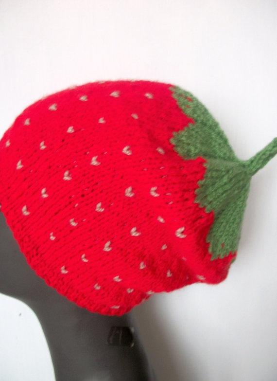 Hand knitted hat  Strawberry hat Womens by thekittensmittensuk, $24.00