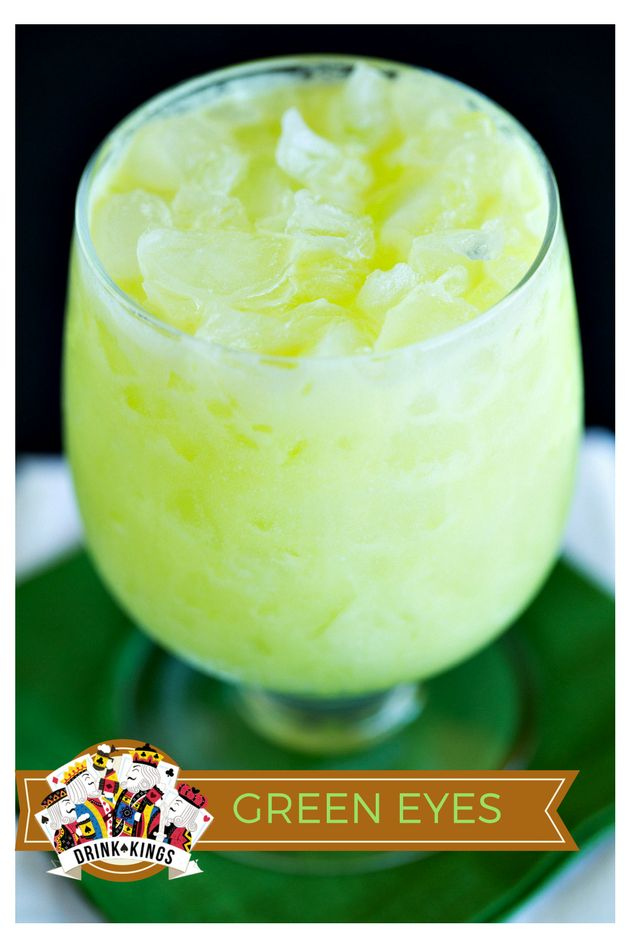 Green Eyes - blend of melon liqueur, white rum, pineapple juice, simple syrup, lime juice and cream of coconut! | The Drink Kings |
