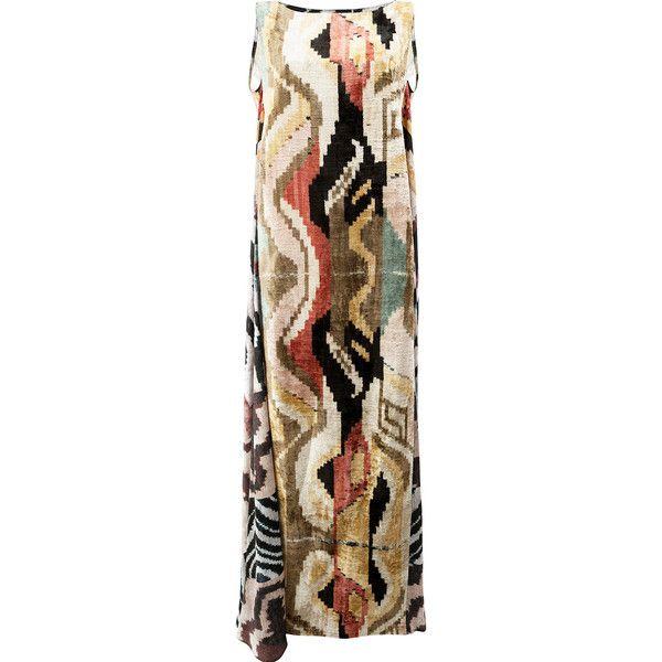 Afroditi Hera long kaftan dress (€1.870) ❤ liked on Polyvore featuring dresses, multicolour, long brown dress, brown sleeveless dress, colorful dresses, long caftan dress and long kaftan dress