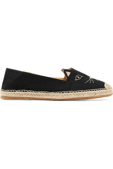 Charlotte Olympia - Kitty Embroidered Canvas Espadrilles - Black - IT38.5