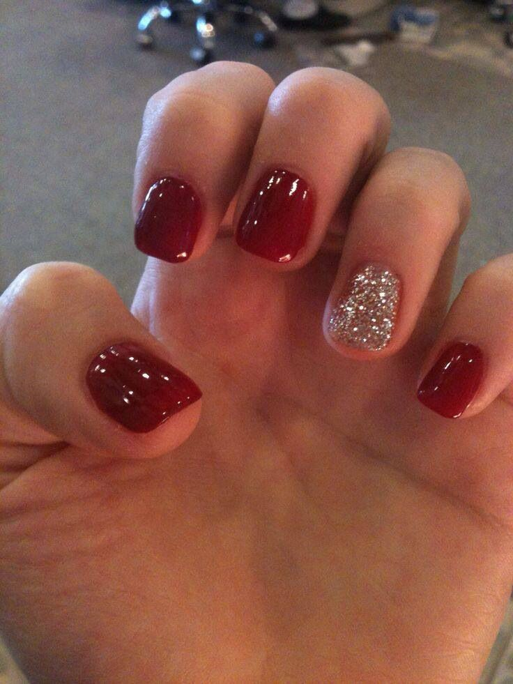 Red and glittery silver