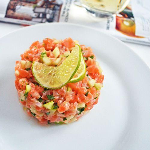 Tartare de saumon OU Thon OU poisson blanc,  à la granny smith, lime et coriandre