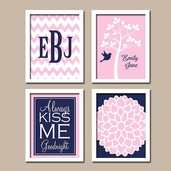 Monogram Child Name Chevron Navy Blue Pink Tree Bird Flower Kiss Me Goodnight NURSERY Print Artwork Set of 4 Prints WALL Decor Baby Girl ART...