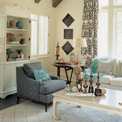 Beach Cottage DecorLiving Room Decor, Southern Living, Beach House, Cottages Inspiration, Bing Image, Google Search, Cottages Decor, Beach Cottages Blue Decor, Cottages Living Room