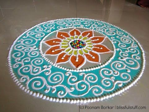 Beautiful and unique rangoli design for Diwali | Poonam Borkar Rangoli Designs - YouTube