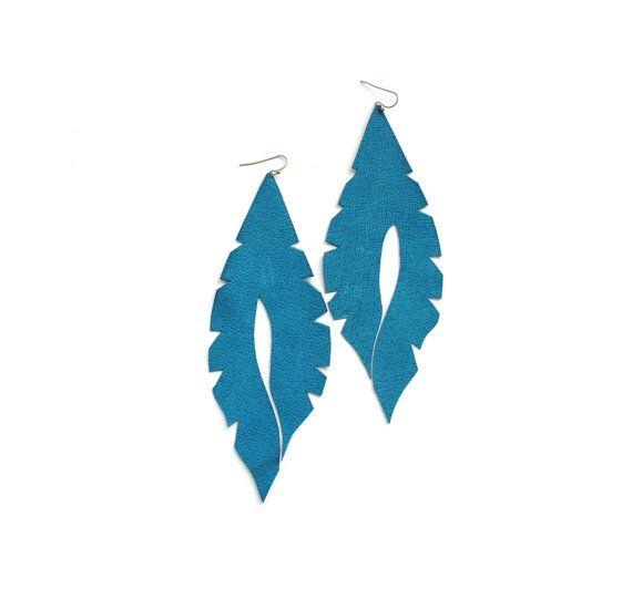 Long earrings teal earrings blue earrings leather by elfinadesign