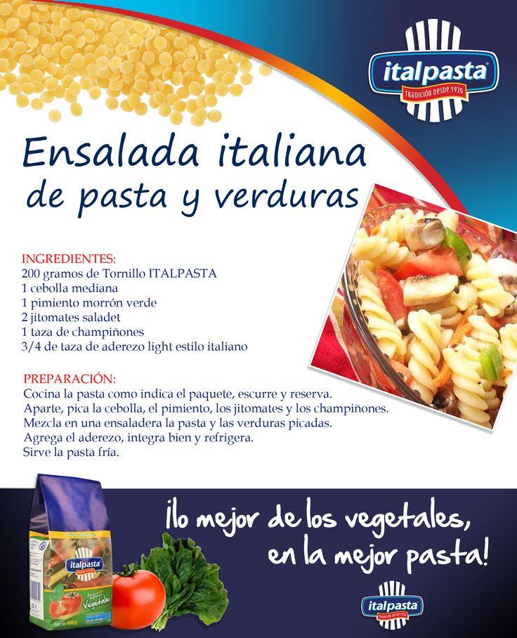 Fresca y deliciosa, lo mejor para estos días de calor... ensalada con pasta ITALPASTA, por supuesto!