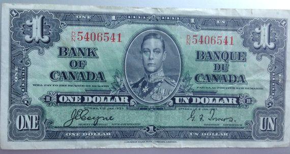 1937 King George 1 Dollar Bill  Canadian Good by RetrouverBiz, $45.00