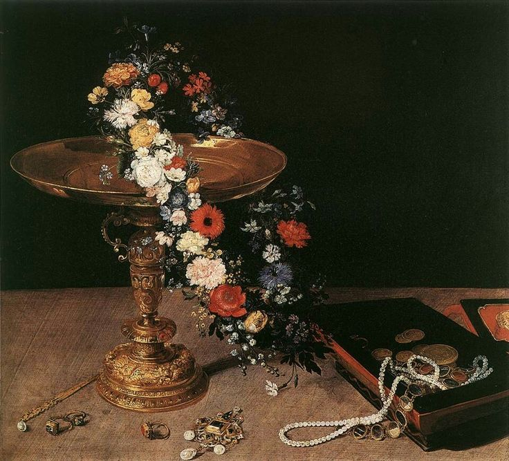 Still-Life with Garland of Flowers and Golden Tazza 1618 Oil on wood, 47,5 x 52,5 cm Musées Royaux des Beaux-Arts, Brussels