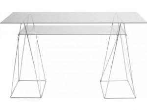 910 KARE DESIGN BIURKO TABLE POLAR szkło szklane transparentne - Planeta Design MEBLE DEKORACJE DESIGNERSKIE NOWOCZESNE wysyłka w 48h