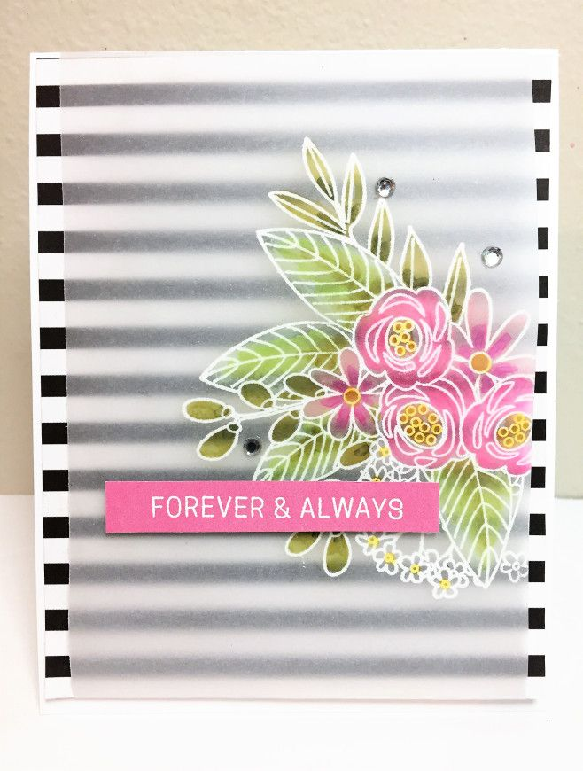 Graphic and floral card made with the Simon Says Stamp June 2017 card kit