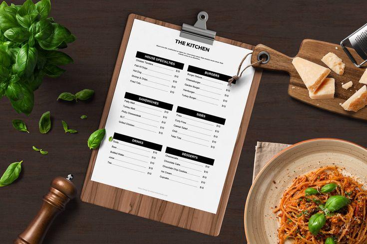 restaurant menu template google docs