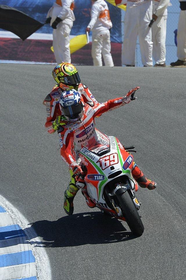 Laguna Seca 2012 - Hayden gives Rossi a pillion ride