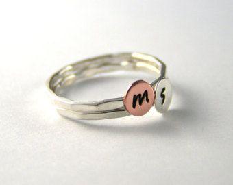 Stack Rings Custom Initial Rings Set Of Two by LittleGreenRoom