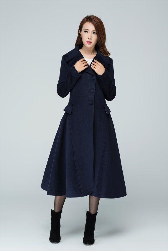 Custom coat, woman wool coat, long coat, womens coats, winter coat, plus size coat, navy blue coat, trench coat, tailored coat 1597
