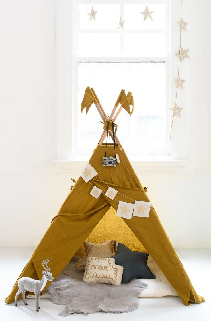 Kids room teepee fun! Love the mustard