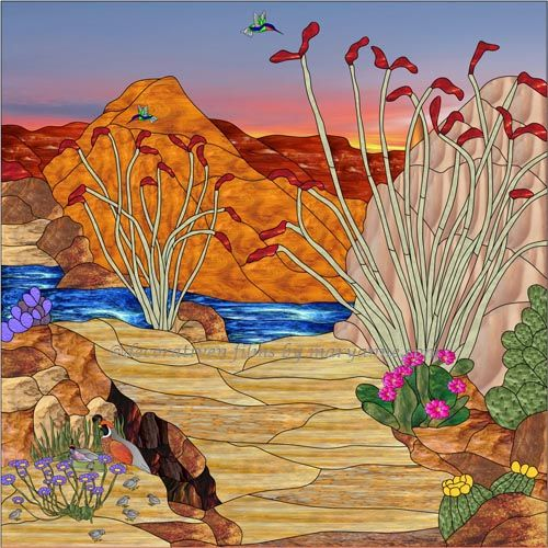 Arizona 3b square Decorative Window Film - This southwestern pattern has golden red and brown mountains, flowering purple, yellow and pink cactus. Brown and tan sand, quail nesting and hummingbirds fluttering busily along a blue creek.