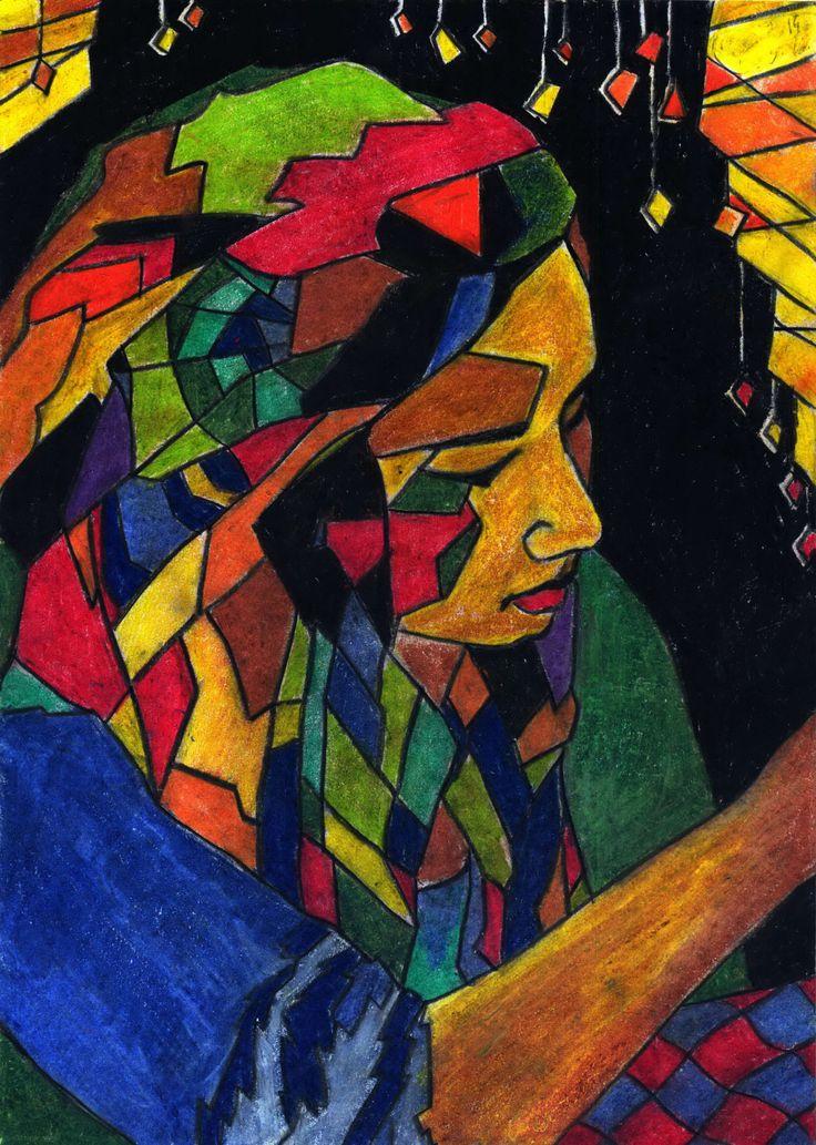 Kacskaringó, Fatima, pastel art, colorful, character, coffehouse