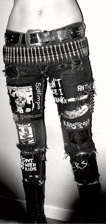 Crust Punk pants jeans patches on denim., my new jeans, emp, inspired, punk, bullet, black, patches