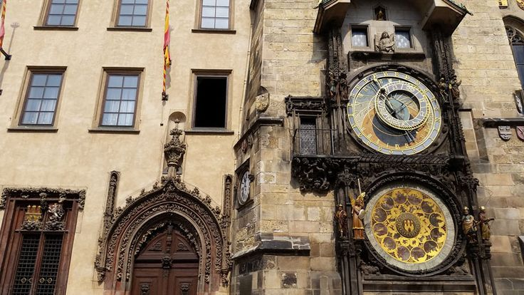 The Prague Astronomical Clock on the side of the Old Town Hall.