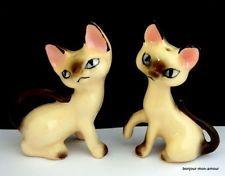 Art Deco handbemalte Salz und Pfefferstreuer Siamesische Katzen, Siamese Cat S&P