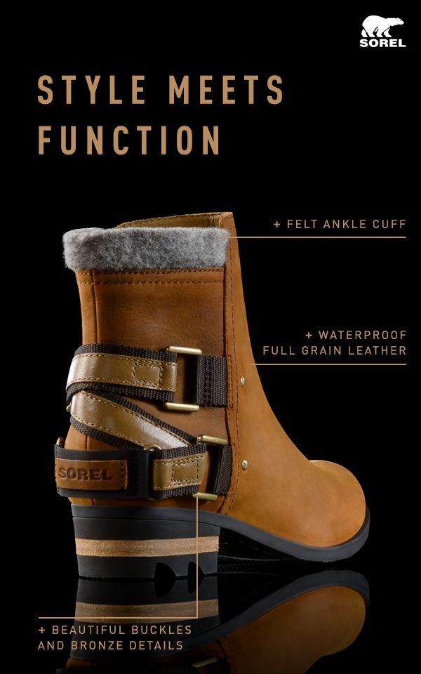 Expertly crafted, beautifully designed – the Lolla Boot is just the dose of attitude and style your wardrobe needs. Boots are crafted of full-grain waterproof leather with felt ankle cuffs, stacked heels and rugged soles. Heel straps and bronze hardware give these boots a final touch of style. Find your new go-to boots at SOREL.