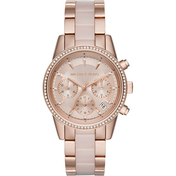 MICHAEL MICHAEL KORS 37mm Ritz Bracelet Strap Chronograph Watch (960 BRL) ❤ liked on Polyvore featuring jewelry, watches, accessories, rose gold, stainless steel jewellery, rose watches, stainless steel jewelry, michael michael kors and leather-strap watches