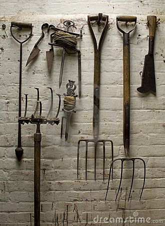 Old garden tools can be a practical ornament  #antiques, #collectables, #furniture