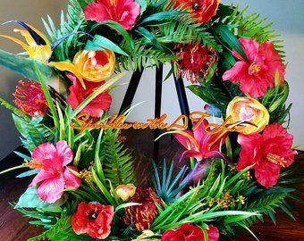 Tropical Wreath Hawaiian Wreath Tropical Front Door Wreath Tropical