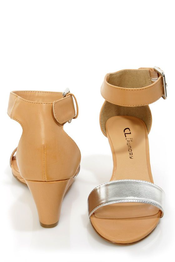 Chinese Laundry Total Thrill Natural and Silver Wedge Sandals - $48.00