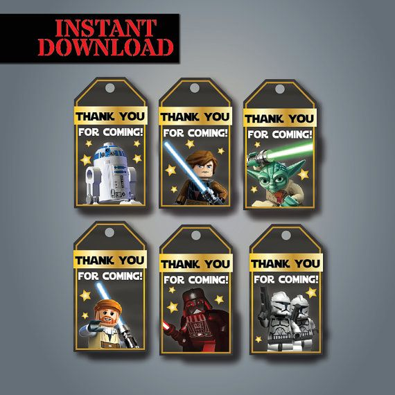 Lego Star Wars Thank You Tags Instant Download Printable