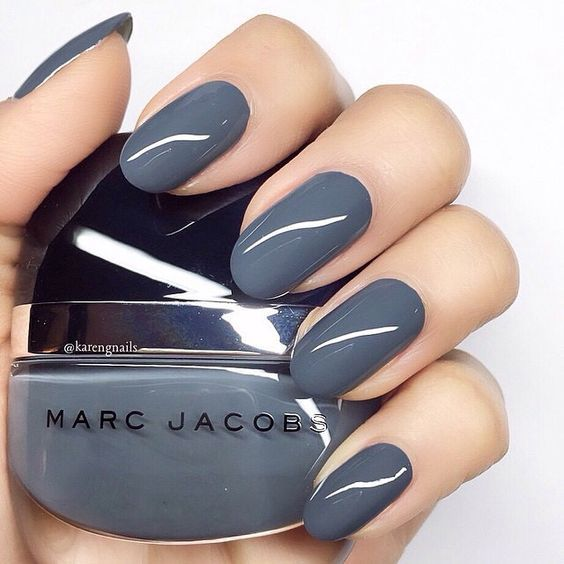 Loving this dark grey/blue nail color. I have one similar but this is perfect for winter