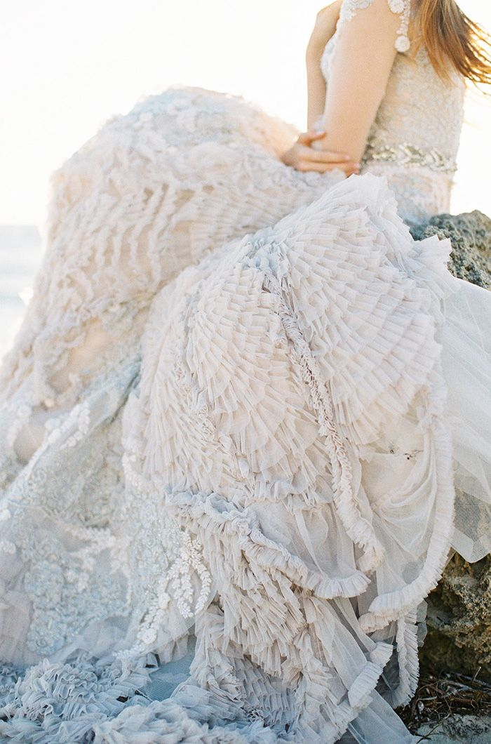Warm Coastal Wedding Inspiration #beading #weddinggown #weddingideas