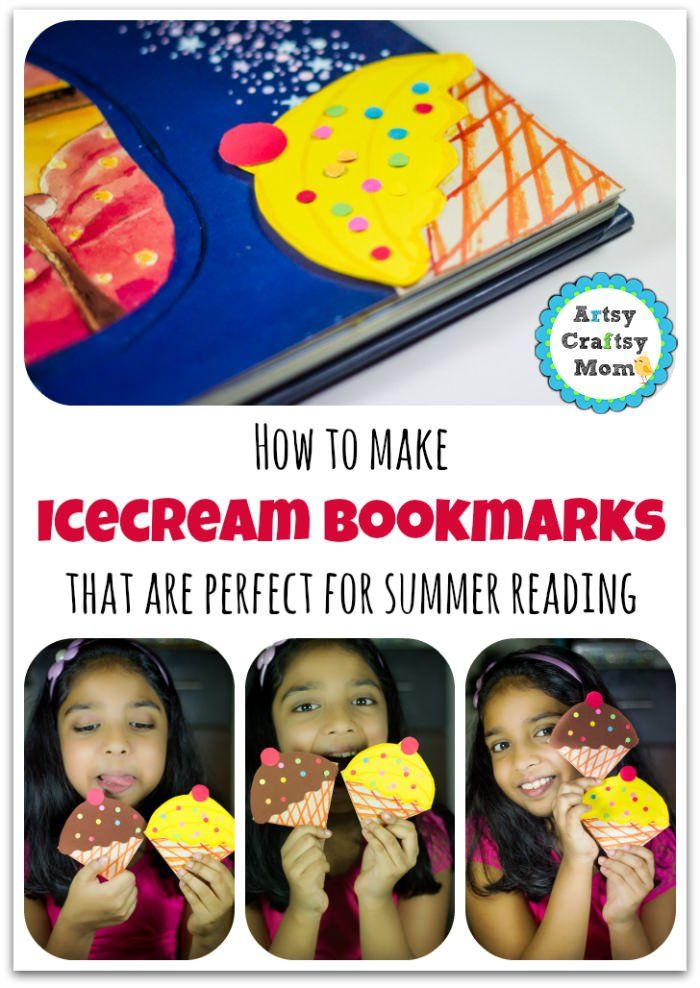 These ice-cream bookmarks are so adorable, that you'll be tempted to try & eat them too. Don't blame us if they bring on some serious Summer ice-cream cravings 😉 #summercraft #bookmark #icecream