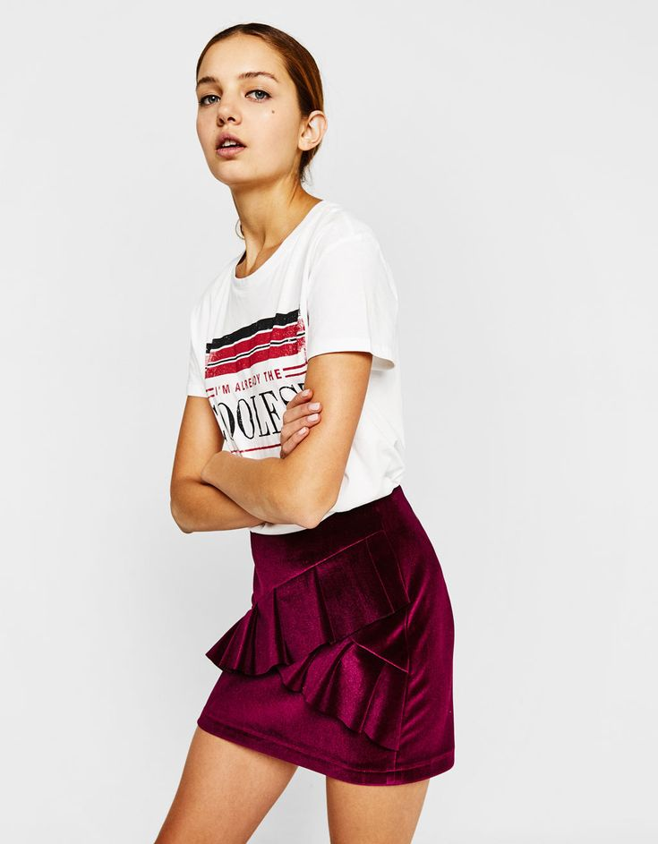 Velvet skirt with ruffles. Discover this and many more items in Bershka with new products every week