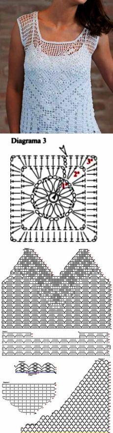 Белый топ филейным узором со схемами. Летнее вязание крючком для женщин | Я Хозяйка