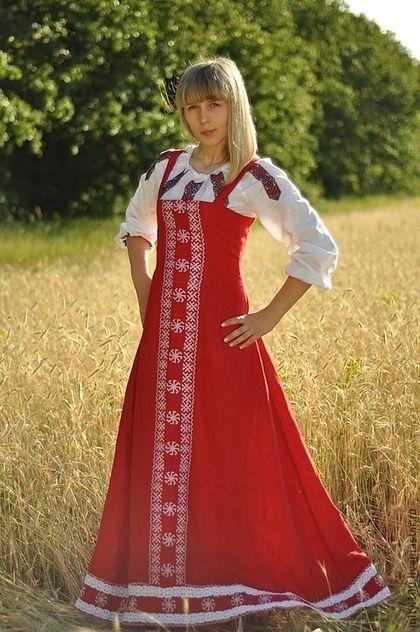 Русский Сарафан - ярко-красный,сарафан,русский стиль,русские узоры,славянский стиль