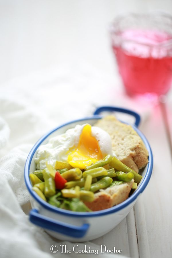 French Beans Casserole with Poached Egg