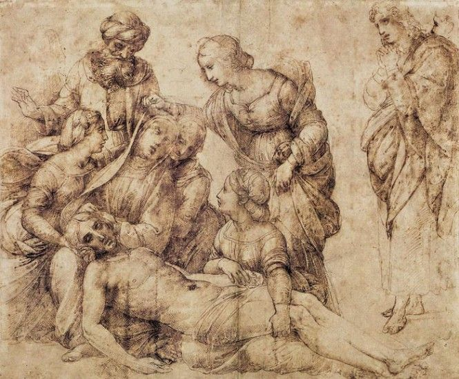 """Raffaello Sanzio, """"Disegno preparatorio per il 'Compianto' della Pala Baglioni"""", 1505 ca, Museo del Louvre, Parigi"""
